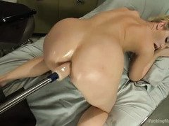Overflow of sweet nectar from stunning blonde's fucking machines play