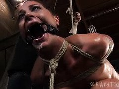Sweet Cici Rhodes is shedding tears of pain pleasures during master's punishment