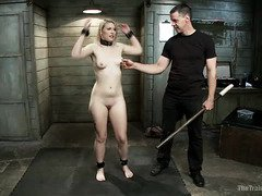 Stunning blonde slave is attentively participating in master's lusty punishment