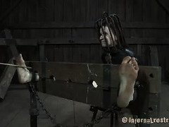Submissive slave brunette receives punitive beatings from tough master