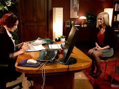 Demure stay-at home blonde mum endures mistress punishment during job interview