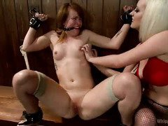 Sexy blonde mistress dominates a pretty non-lesbian brunette at the bar