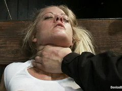 Submissive blonde receives master's punitive torment with an open cunt and mind