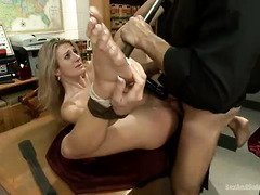 Naughty blonde receives a lusty cleansing for bullying her geeky friend
