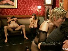 Smoking hot slaves are serving wet pussies, tight anal tunnels and lusty mouths
