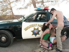 Two naughty young babes are being disciplined sexually by a lusty master cop