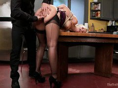 Stunning milf slave receives ass punishment on her forth day of slave training