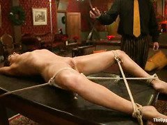 Stunning slave is thankful for master's lusty beating during her explicit training session