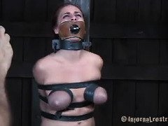 Raucous caning and whipping punishment for stunning slave beauty
