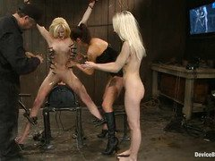Two stunningly beautiful blonde slaves endure tenacious anal and pussy punishment