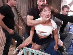 Tough prisoner studs execute their lusty revenge on their horny captor bitch