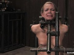 Master is testing lovely blonde slave's pussy endurance as she rides on a sybian