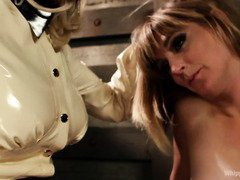 Stunning blonde mistress convinces babe to receive hardcore lesbian punishment