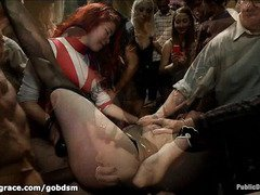 Worthless slave is humiliated publicly as she gets her lusty fuck holes disciplined