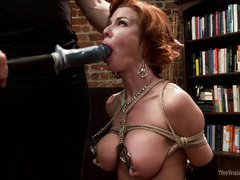 Busty slave receives raucous pain punishment for her lusty shaved pussy