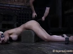 Blonde beauty is drooling and crying excessively from master's merciless punishment