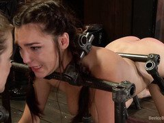 Gorgeous slaves are screaming wildly during their lusty disciplining session