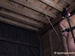 Thirsty slave is gagged and given a hard dildo in her wet mouth