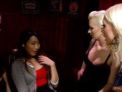 Naughty Asian babe is punished by lusty mistresses for producing a fake id