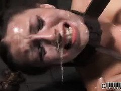 Burning salve are applied to slave's nose and pussy to make her dripping wet