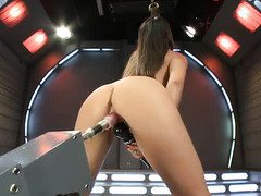 Sweet nectar oozes out uncontrollably after babe's wild fuck machine play