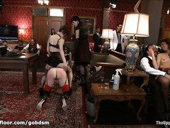 Lovely slaves experience chaotic pleasuring for their horny fuck holes