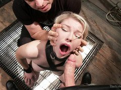 Big tits slave has to train her stamina in order to provide good sex service