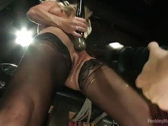 Busty milf's pussy is drenched with wetness from playing with fuck machines