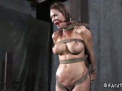 Atrocious and tough hardcore bdsm disciplining for a defiant slave beauty