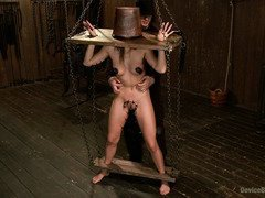 Cute slave is begging master to let her cum as she receives lusty punishment