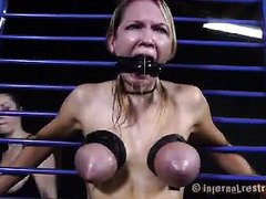 Big tits slave is crying incessantly from mistress rough pussy punishment