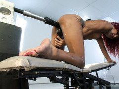 Sweet ebony is grasping with pleasures after raunchy fucking machines play