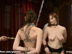 Two bewitching slaves are given harsh toys and equipment training