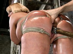 Bounded plump blonde gets a wet pussy tormenting from horny master