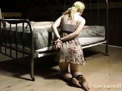 Old master whips demure blonde until she begs him to let her suck his cock