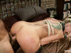 Sexy blonde slave is punished for not keeping the house clean and tidy