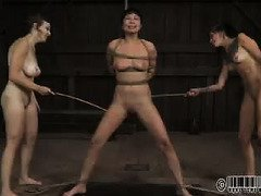 Charming Asian beauty with other slave babes are punished for their naughty sins