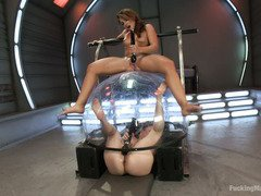 Fucking machines delights with loads of squirting pleasures for naughty lesbians