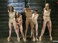 Brutish and atrocious training punishment for new slave recruit beauties
