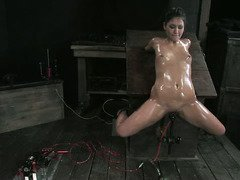 Hot and cold torment for gorgeous slave beauty's luscious physique