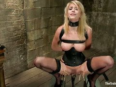 Cute blonde slave is dressed up sexily to be master's succulent fuck toy