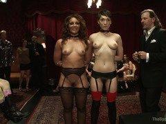 Two breathtakingly beautiful slaves must endure tremendous pussy pleasuring