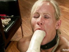 Lovely blonde milf is going to be master's domestic and submissive whore today