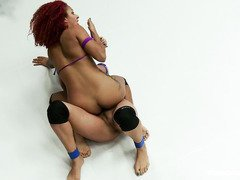 Spicy hot ebony challenges a beautiful brunette for the domination title
