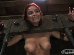 Redhead slave's vagina is stinging with pain pleasure from master's torment