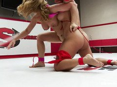 Harrowing and wild sapphic fight between big boobs Asian babe and charming brunette
