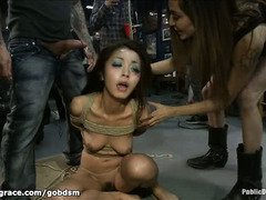 Demure Japanese dolly is taken into a cafe for a twisted and wild public punishment