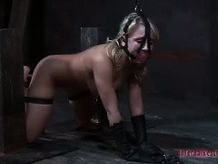 Charming blonde endures master's reprehensible heat and caning punishment