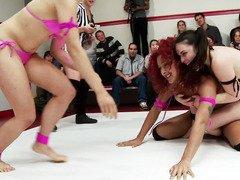 Tumultuous and vicious interracial wrestling between two delightful teams