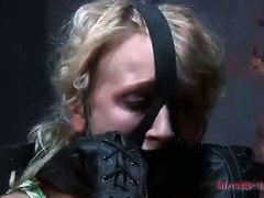 Vulnerable blonde is moaning wildly as master torments her beaver with a vibrator